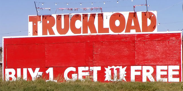 Truckload Sale Sign, Buy 1 Get 11 Free