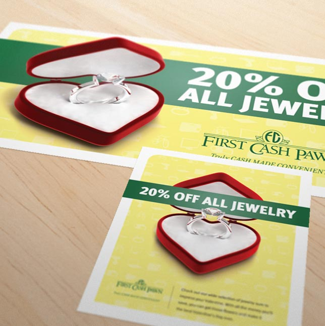 First Cash Pawn Valentine's Day promotional banner and poster