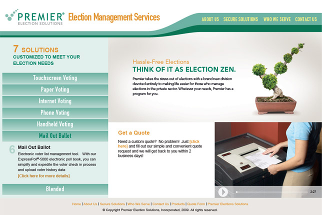 Election Management Services website home page