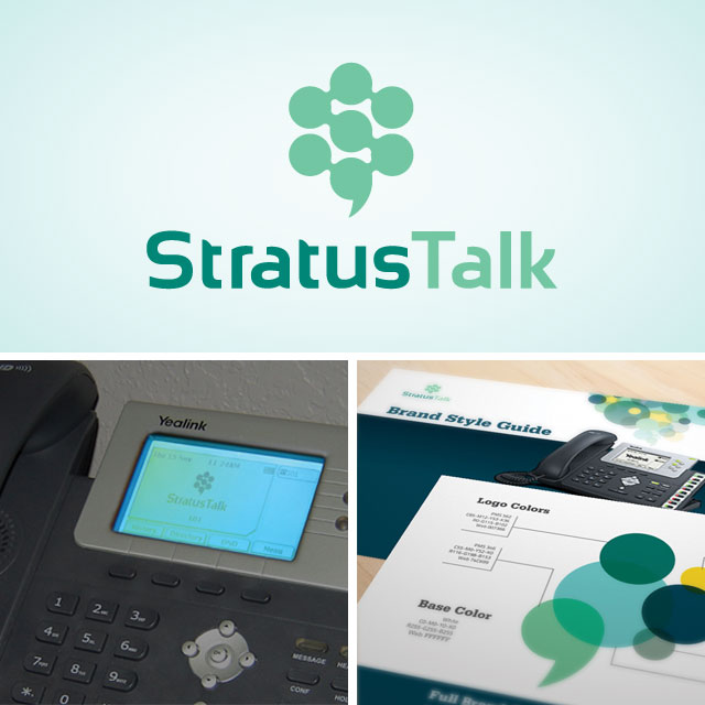 StratusTalk logo, phone screen with logo and style guide excerpts