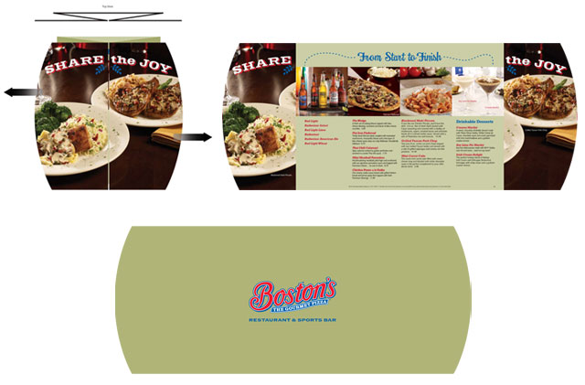 Open gate fold option for holiday take out menu