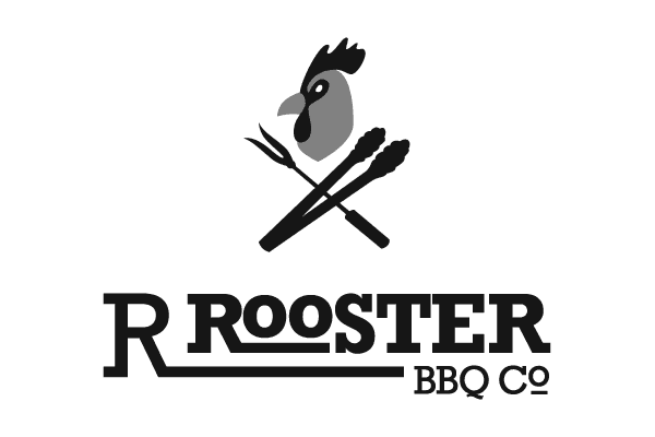 Rooster with bbq tools reminiscent of the skull and crossbones