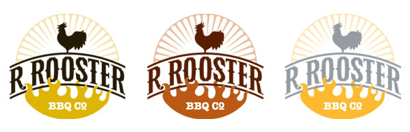 Color options for the R. Rooster logo design