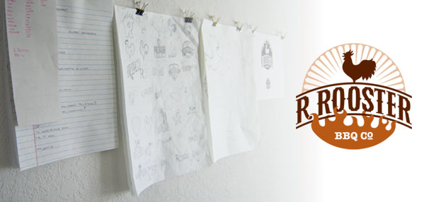 Notes, sketches, comps and the final R. Rooster logo design