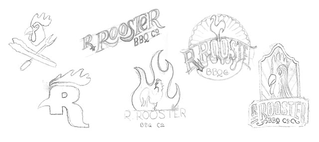 Tighter pencils of logo design ideas to explore in more detail