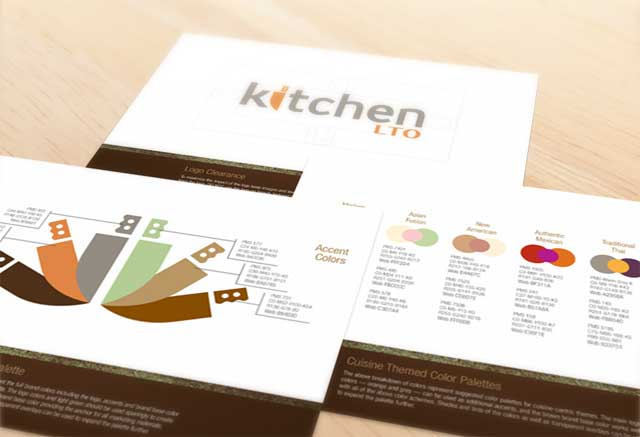 Kitchen LTO brand style guide excerpts for color and logo clearance
