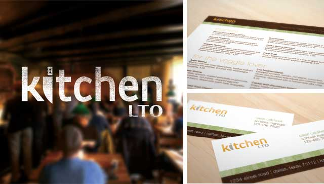 Kitchen LTO window sign, menu and business cards